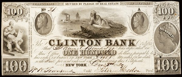 855: Obsolete Currency, New York, NY $100 Clinton Bank
