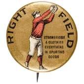 1896 Baseball, Right Field Advertising Button
