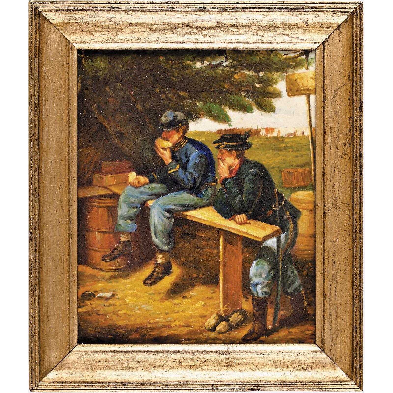 c 1860 Civil War Camp Scene Original Oil Painting
