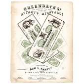 1863 Civil War Printed GREENBACKS Sheet Music