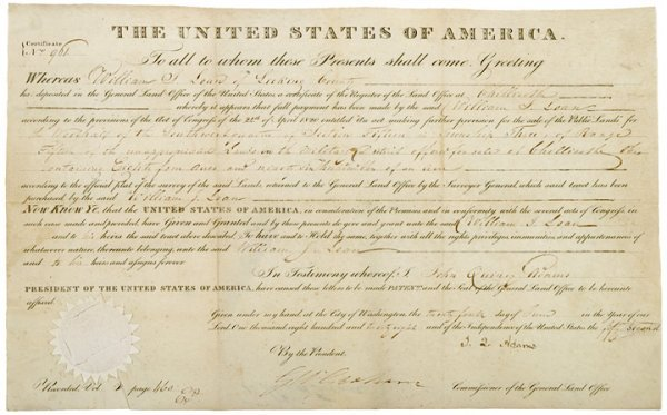 1: Impressive J.Q.Adams Document Signed As President