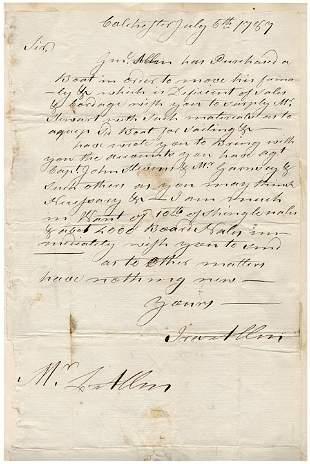 4: Historic Ira Allen 1787 Autographed Letter Signed