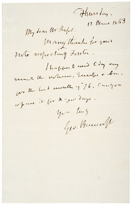 7: Civil War Autograph Letter Signed Geo. Bancroft