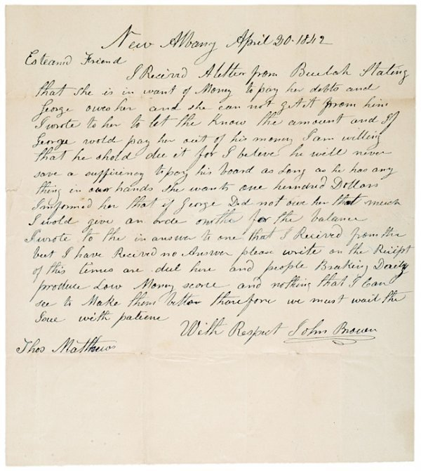 11: Abolitionist JOHN BROWN, Autograph Letter Signed