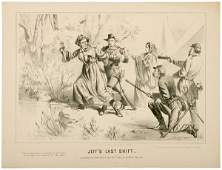535 1865 Civil War Lithograph JEFFS LAST SHIFT