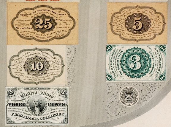 854: Fractional Currency Shield, 39 Specimen Notes - 5
