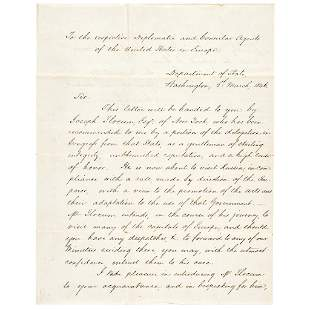 1846 JAMES BUCHANAN Letter of Introduction
