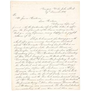 Author THOMAS L. McKENNEY ALS to Dolley Madison
