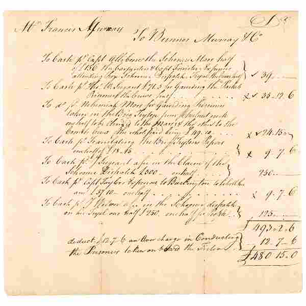 Revolutionary War PRIVATEERS Account Statement