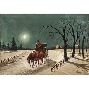 1891 Dated Oil Painting of a Horse-Drawn Carriage