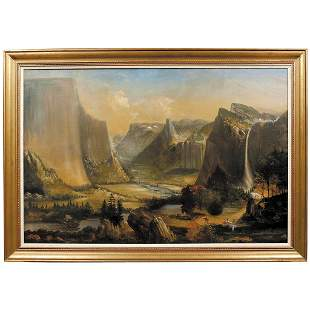 c. 1870s Oil Painting of the Yosemite Valley