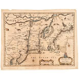 c.1676 Handcolored JOHN SPEED Map New England, NY