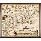 c. 1684 Hand-Colored American Northeast Map