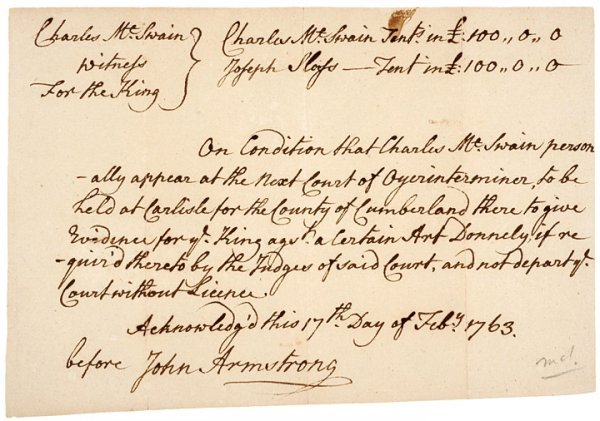4: JOHN ARMSTRONG 1763, Autographed Document Signed