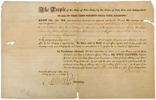 12: NY Governor DEWITT CLINTON Signed Document