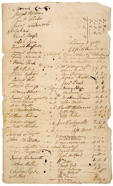 14: CONNECTICUT, HOUSE OF ASSEMBLY 1789-Dated Signed