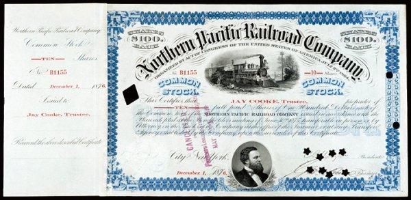 15: JAY COOKE - Stock Issued And Signed, 1876
