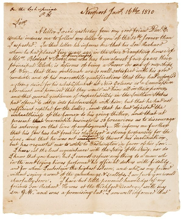 21: WILLIAM ELLERY, 1810-Dated, Autograph Letter Signed