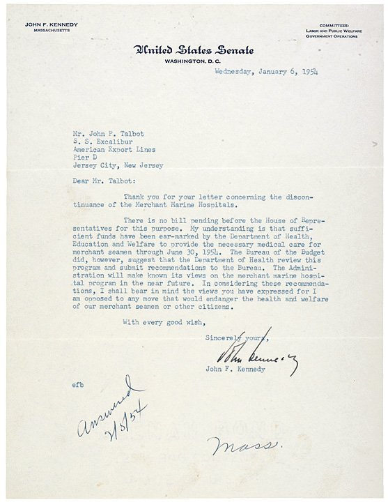 46: JOHN FITZGERALD KENNEDY, Signed Letter 1954