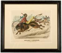270 1881 Currier  Ives Print The Bicycle Boy