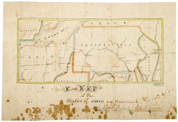 389: Hand-Drawn + Colored Map of Ohio and Pennsylvania