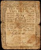 395: 1764, PA, 10s, CLYMER Note Printed by B. FRANKLIN
