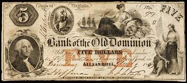 737: Obsolete Currency, Alexandria, VA, $5, Issued