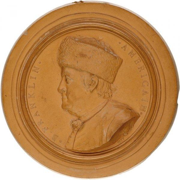 834: 1777 Benjamin Franklin Medallion In Terra Cotta