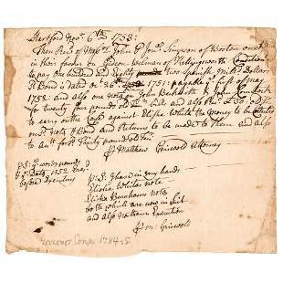 1753 MATTHEW GRISWOLD Connecticut Governor Signed