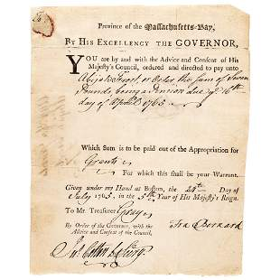 1765 SIR FRANCIS BERNARD, Royal Governor Signed