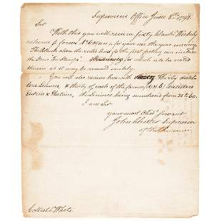 JOHN CHESTER Autograph Letter Signed 1798