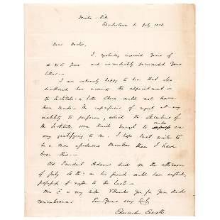 July 6, 1826 EDWARD EVERETT Letter re JOHN ADAMS