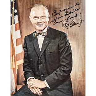 JOHN H GLENN Color Photograph Inscribed + Signed