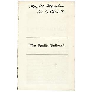1860 HANNIBAL HAMLIN Signed THE PACIFIC RAILROAD