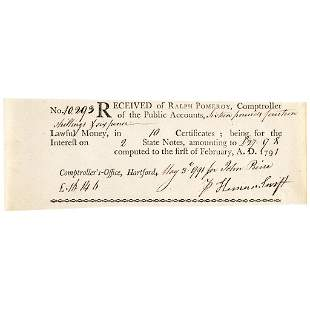 1791 Interest Receipt for GENERAL HEMAN SWIFT