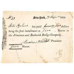 1803 GENERAL MARINUS WILLETT Signs Shares Receipt