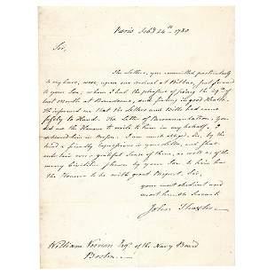 1780 John Adams Personal Secretary Letter