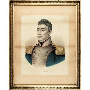 c. 1860 Color Lithograph of Marquis de Lafayette