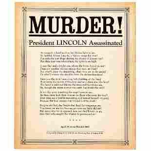 MURDER!-President Lincoln Assassinated Broadside