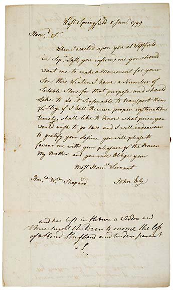 2002: JOHN BLY, Early American Sculptor, 1799 Letter