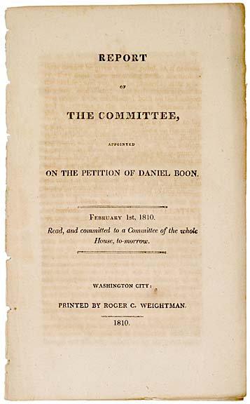 2003: (DANIEL BOONE). 1810 COMMITTEE REPORT