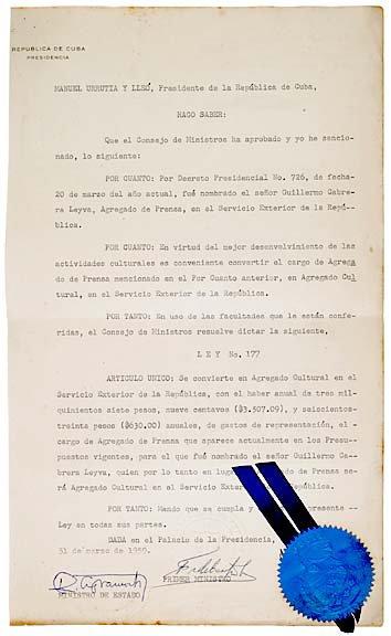 2006: FIDEL CASTRO, 1959 Document Signed
