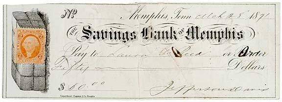 2011: JEFFERSON DAVIS Signed Check 1871