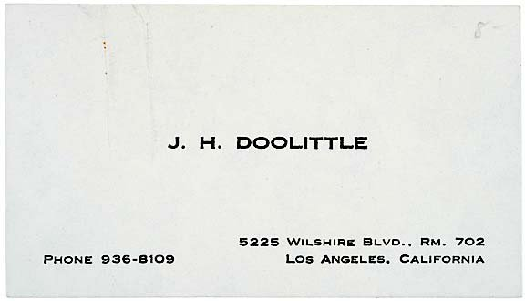 2012: JAMES H. DOOLITTLE, Signed Card