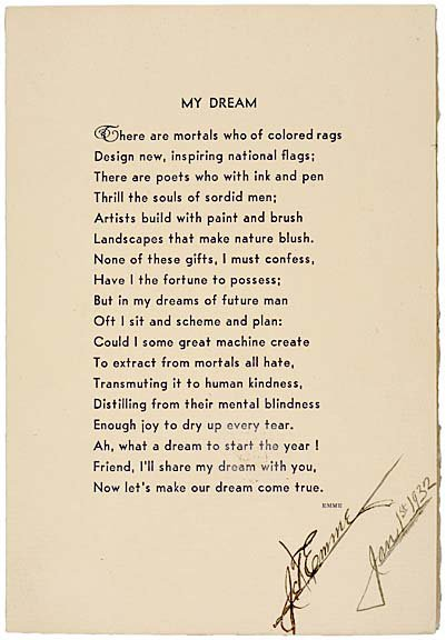"2015: J.T. EMME Signed Poem 1932 - ""My Dream"""