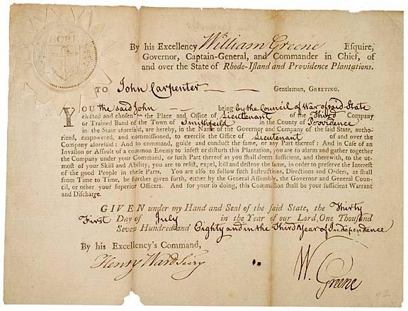 2020: WILLIAM GREENE, 1780 RI Military Commission