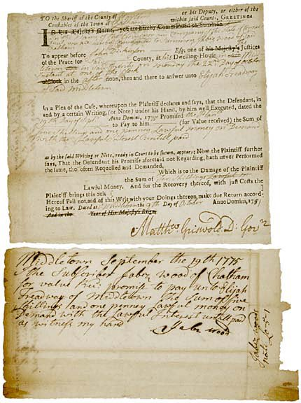 2021: MATTHEW GRISWOLD Signed Document, 1781