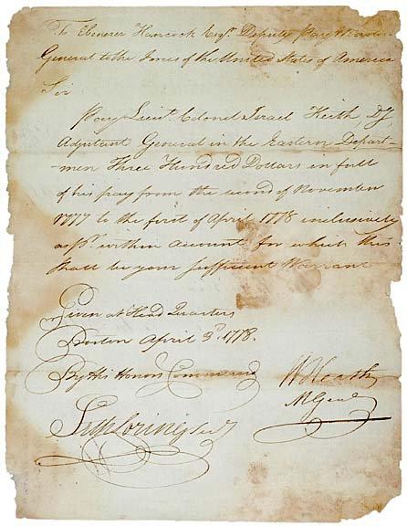 2023: Gen. WILLIAM HEATH Signed Letter, 1778