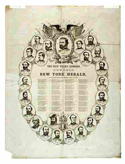 2183: Broadside Print of 25 Union Generals, 1864