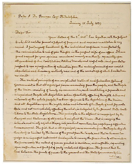 4: JOHN QUINCY ADAMS Autograph Letter Signed
